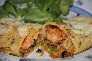 Panqueca de camarão com molho branco: sabor irresistível (Divulgação)
