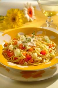 Spaghetti Pelaggio com Ricota e Legumes