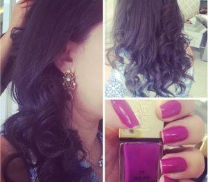 Foto da escova modelada e unhas feitas no Glow HairBar