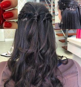Foto de penteado e unhas feitas no Glow HairBar