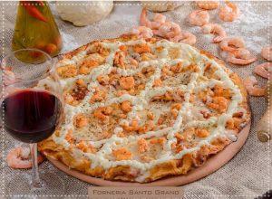 Pizza de camarão da Santo Grano